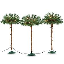pre lit pathway palm tree set of 3 bed bath beyond