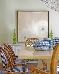 Gingham Armchair Trestle Dining Table Transitional Dining Room Katie