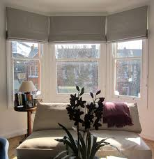 geometric patterned roman blinds in a bay window could work in