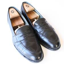 trad alden black full strap penny loafers dress shoes made in usa