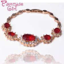 red crystal bracelet images Fancyde girl gold color flower oval cut red crystal chain bracelet jpg
