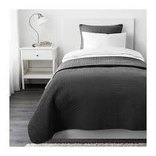 Black And Gray Duvet Cover Alina Bedspread And 2 Cushion Covers Queen King Ikea