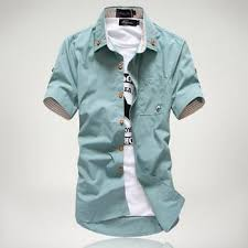 men u0027s short sleeve shirt with white collar u2013 trendsettingfashions