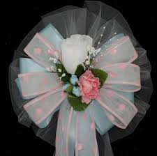 pew bows white pink dot light blue wedding pew bows church aisle