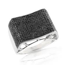 mens rings with images Mens sterling silver ring with black diamonds 1 14ct jpg