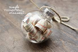 vintage map ornament live laugh rowe