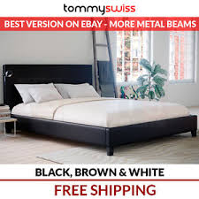 new king queen double ks single pu leather bed frame black