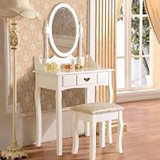 uenjoy white dressing table with mirror and stool makeup table