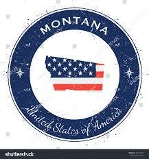 Montana State Flag Montana Circular Patriotic Badge Grunge Rubber Stock Vector