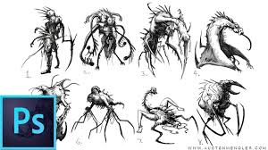 40 necromorph sketches concept art in photoshop youtube