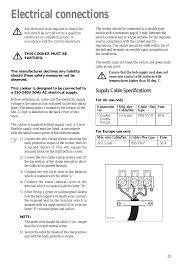 instructions for the installer electrical connections supply