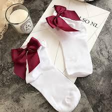 satin ribbon bows women socks glitter satin ribbon bows trim cotton