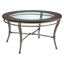 wood and metal coffee table round glass with iron base thippo