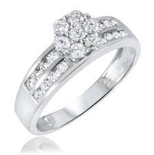 mens diamond engagement rings 1 1 2 ct t w diamond trio matching wedding ring set 10k white gold