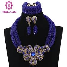 blue bib necklace images Royal blue african beads jewelry set for nigerian wedding crystal jpg