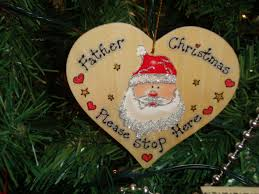 Christmas Tree Stop - father christmas please stop here wooden christmas tree window