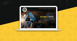 kafeinate free coffeeshop logo one page ui designs junoteam