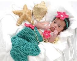 Infant Mermaid Halloween Costume Handmade Crochet Mermaid Tail Newborn Mermaid Photo