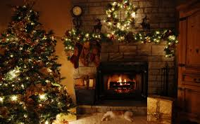 rustic fireplace with dim christmas decoration lighted mantel