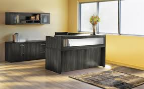 L Shaped Reception Desk Mayline Aberdeen L Shaped Reception Desk And Furniture Set In Gray