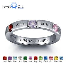personalized birthstone rings aliexpress buy personalized 925 sterling silver cz name ring