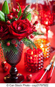 table decorations with candles and flowers christmas table decoration with flowers and candles stock photo