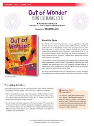 out of wonder teachers u0027 guide common core state standards