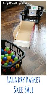 laundry basket skee ball with ball pit balls
