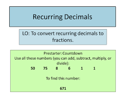 recurring decimals by diddyface teaching resources tes