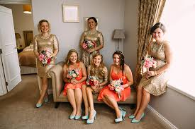 coral and gold bridesmaid dresses mint green coral gold sequins wedding jayne andy