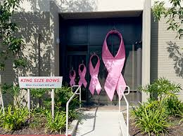 large ribbon large pink breast cancer ribbons oversized breast cancer awareness
