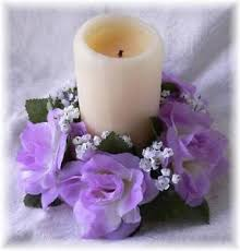 flower candle rings 6 roses candle rings lavender lilac silk roses wedding flower