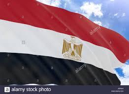 Eygpt Flag 3d Rendering Of Egypt Flag Waving On Blue Sky Background