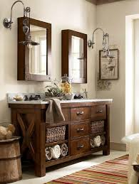 pottery barn vintage medicine cabinet benchwright double sink console rustic mahogany finish pottery