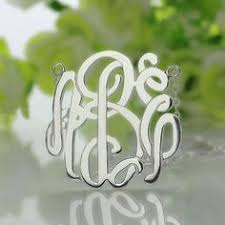 3 Initial Monogram Necklace Sterling Silver Personalized Taylor Swift Monogram Necklace Sterling Silver