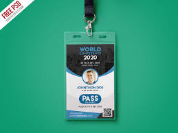 conference id card template psd free download
