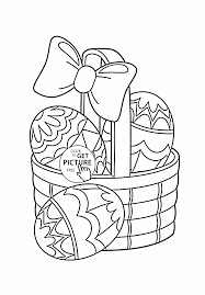 little basket with easter eggs coloring page for kids coloring