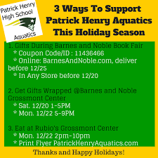Barnes And Noble Grossmont Center Ways To Support Patrick Henry Aquatics During 2014 Holiday Season