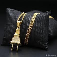 long necklace men images Wholesale hot sale gold plated plug pendant gold chain long jpg
