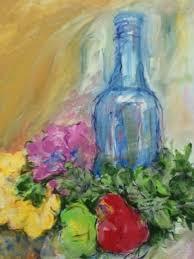 flowers and fruit jackie dodson artwork blue bottle flowers and fruit still