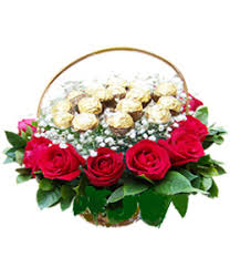 chocolate basket delivery sweet flowers with chocolate in basket delivery