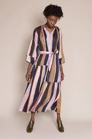 apart fashion apiece apart stella shirred tiers dress in big bright stripe