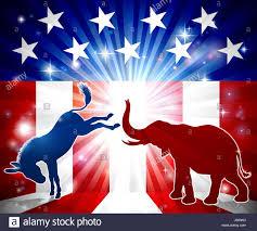 Flag Im Eine Silhouette Esel Und Ein Elefant Mit Einer Amerikanischen