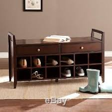 Hallway Shoe Storage Bench Shoe Storage Bench Entryway Furniture Organizer Seat Espresso Wood