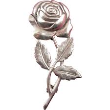 silver roses 1940s sterling silver repousse bloom stem brooch