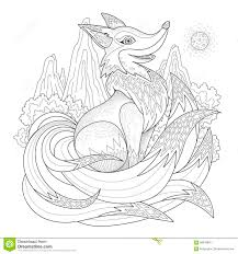graceful fox coloring page stock illustration image 58878892