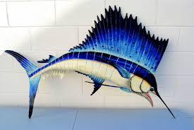 terrific wall ideas sailfish decor blue painted wooden fish