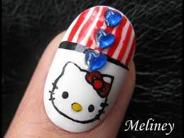 4th of july nails independence day hello kitty patriotic design