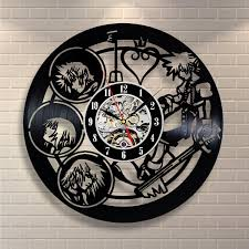 kingdom hearts anime vinyl record design wall clock decorate your