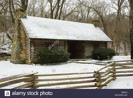 Snow At Home by Log Cabin In Snow At Montgomery Bell State Park Stock Photo